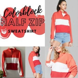 Cropped Half Zip Sweatshirt